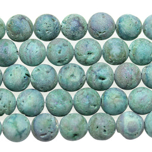Aqua Dyed Druzy Stone 12mm Round BeadsBeads by Halcraft Collection