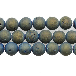 Blue/Green Iris Coated Druzy Stone 10mm Round BeadsBeads by Halcraft Collection