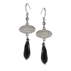 Black Onyx & Lined Textured Oval EarringsJewelry by Halcraft Collection