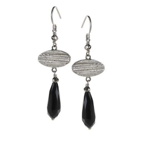 Onyx, Earrings, Oval, Lined, Silver Plated, Natural Stone, Earrings, Black