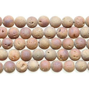Light Bronze Coated Druzy Stone 8mm Round BeadsBeads by Halcraft Collection