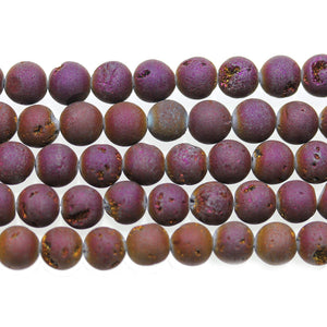 Purple Iris Matte Coated Druzy Stone 8mm Round BeadsBeads by Halcraft Collection
