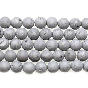 Silver Matte Iris Plated Druzy Stone 8mm Round BeadsBeads by Halcraft Collection
