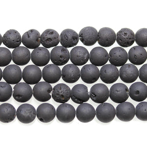Black Matte Coated Druzy Stone 8mm Round BeadsBeads by Halcraft Collection