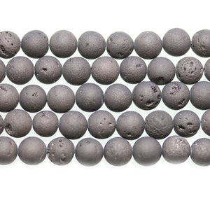 Cuentas redondas de 8 mm de piedra gris mate teñida mate DruzyBeads by Halcraft Collection