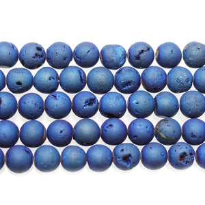 Blue Iris Coated Druzy Stone 8mm Round BeadsBeads by Halcraft Collection