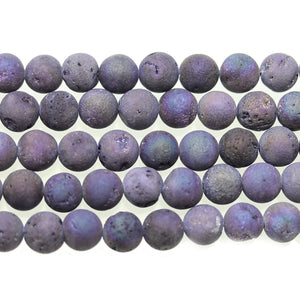 Dark Purple Dyed Druzy Stone 8mm Round BeadsBeads by Halcraft Collection