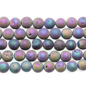 Rainbow Iris Plated Druzy Stone 8mm Round BeadsBeads by Halcraft Collection