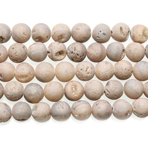 White Iris Coated Druzy Stone 8mm Round BeadsBeads by Halcraft Collection