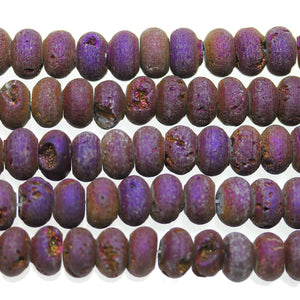 Purple Iris Coated Druzy Stone 6x10mm Rondell BeadsBeads by Halcraft Collection