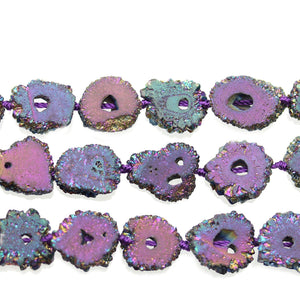 Rainbow Iris Coated Stalagmite Druzy Stone Approx 15mm Slice BeadsBeads by Halcraft Collection