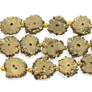 Golden Coated Stalagmite Druzy Stone Approx 15mm Slice BeadsBeads by Halcraft Collection
