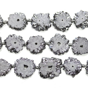 Silver Iris Plated Stalagmite Druzy Stone Approx 15mm Slice BeadsBeads by Halcraft Collection