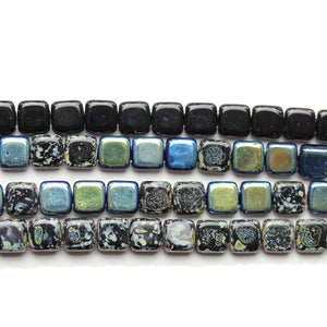 Super Bundle - Czech Glass 2 Hole Black Square 10mm BeadsBeads by Halcraft Collection