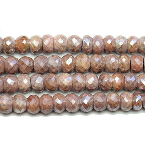 Faceted Natural Mystic Moonstone Rondell 6x8mm BeadsBeads by Halcraft Collection