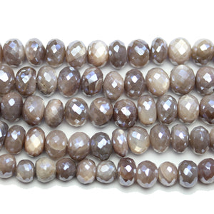 Faceted Natural Mystic Moonstone with Luster Rondell 6x8mm Beads by Bead Gallery