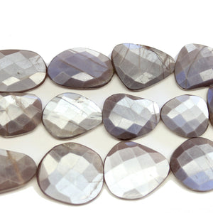 Faceted Natural Mystic Moonstone Flat Oval 14x20mm BeadsBeads by Halcraft Collection