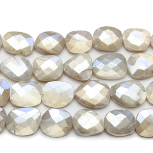 Faceted Natural Mystic Moonstone with Luster Rectangle 10x12mm BeadsBeads by Halcraft Collection