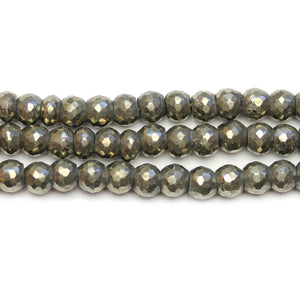 Pyrite Stone Faceted Rondell 6x7mm BeadsBeads by Halcraft Collection