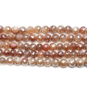Faceted Natural Mystic Moonstone with Luster Pink Round 6mm BeadsBeads by Halcraft Collection