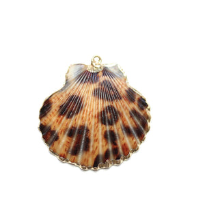 Gold Tone Edge Leopard Shell 35-40mm PendantPendant by Halcraft Collection