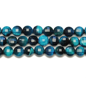 Aqua Dyed Tiger Eye Stone Faceted Round Lentil 8.4x5.8mm BeadsBeads by Halcraft Collection