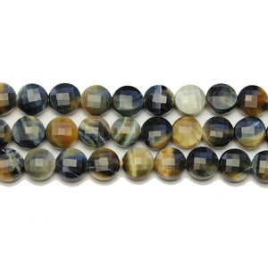 Black Tiger Eye Stone Faceted Round Lentil 8.4x5.2mm BeadsBeads by Halcraft Collection