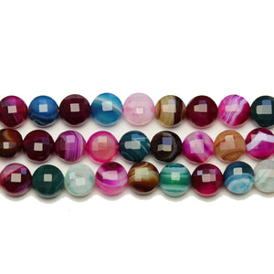 Multi Dyed Agate Stone Faceted Round Lentil 8x5.7mm BeadsBeads by Halcraft Collection
