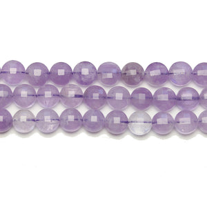 Lavender Jade Stone Faceted Round Lentil 7.8x5.4mm BeadsBeads by Halcraft Collection