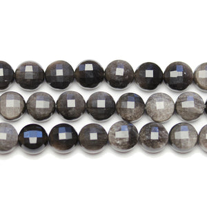 Lentejuelas redondas de piedra obsidiana plateada 10x7.2mm BeadsBeads by Halcraft Collection
