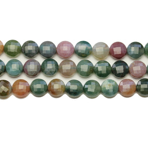 Indian Agate Stone Faceted Round Lentil 8.2x5.3mm BeadsBeads by Halcraft Collection