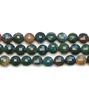Bloodstone Faceted Round Lentil 8.5x5.7mm BeadsCuentas de Halcraft Collection
