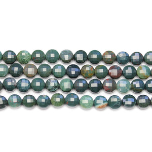 Bloodstone Faceted Round Lentil 6.5x4.4mm BeadsBeads by Halcraft Collection