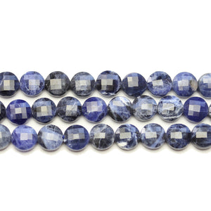 Sodalite Stone Faceted Round Lentil 8.4x4.5mm BeadsBeads by Halcraft Collection