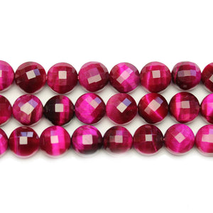 Pink Dyed Tiger Eye Stone Faceted Round Lentil 10.2x7mm BeadsBeads by Halcraft Collection