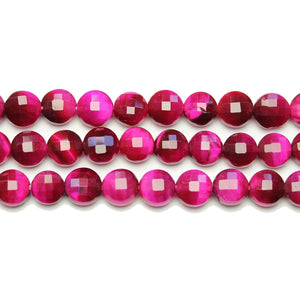 Pink Dyed Tiger Eye Stone Faceted Round Lentil 8.2x5.5mm BeadsBeads by Halcraft Collection