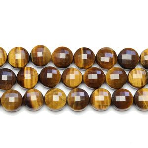 Yellow Tiger Eye Stone Faceted Round Lentil 10.4x7mm BeadsBeads by Halcraft Collection