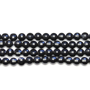 Black Onyx Stone Faceted Round Lentil 6.2x4.3mm BeadsBeads by Halcraft Collection