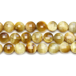 Golden Tiger Eye Stone Faceted Round Lentil 10.4x7mm BeadsBeads de Halcraft Collection