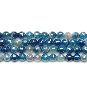 Aqua Dyed Agate Stone Faceted Silver Lustered Round Lentil 6mm BeadsBeads by Halcraft Collection