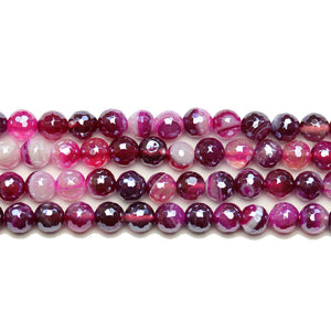 Purple Dyed Agate Stone Faceted Silver Lustered Round Lentil 6mm BeadsBeads by Halcraft Collection