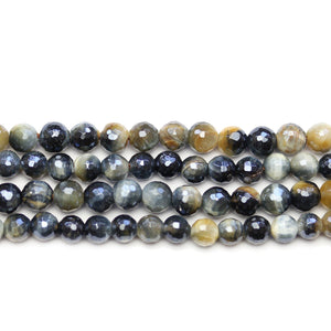 Black Tiger Eye Stone Faceted Silver Lustered Round 6mm BeadsBeads by Halcraft Collection