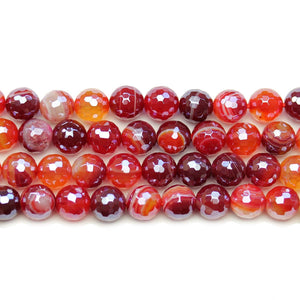 Dyed Agate Stone Faceted Silver Lustered Round Lentil 8mm BeadsBeads by Halcraft Collection
