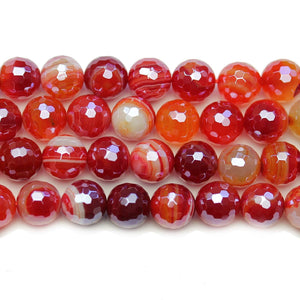 Dyed Agate Stone Faceted Silver Lustered Round Lentil 10.4mm BeadsBeads by Halcraft Collection