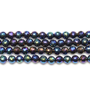Onyx Stone Faceted Rainbow Lustered Round 6mm BeadsBeads by Halcraft Collection