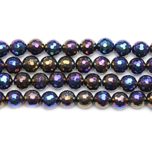 Onyx Stone Faceted Rainbow Lustered Round 8mm BeadsBeads by Halcraft Collection