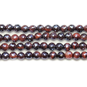 Red Tiger Eye Stone Faceted Silver Lustered Round 6mm BeadsBeads by Halcraft Collection