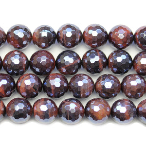 Red Tiger Eye Stone Faceted Silver Lustered Round 12mm BeadsBeads by Halcraft Collection