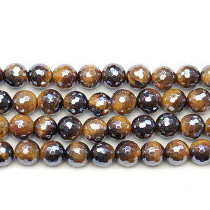 Yellow Tiger Eye Stone Faceted Silver Lustered Round 8.5mm BeadsBeads by Halcraft Collection