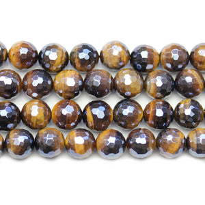 Yellow Tiger Eye Stone Faceted Silver Lustered Round 10.4mm BeadsBeads by Halcraft Collection